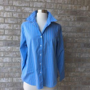 Foxcroft Wrinkles Free Button Up Striped Shirt 10P